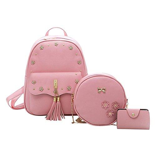 3pcs Flowers Chain Composite Bags Vintage Akaddy PU Card Backpack Pink Bag Shoulder Set Women Pink Round xgUnq07a