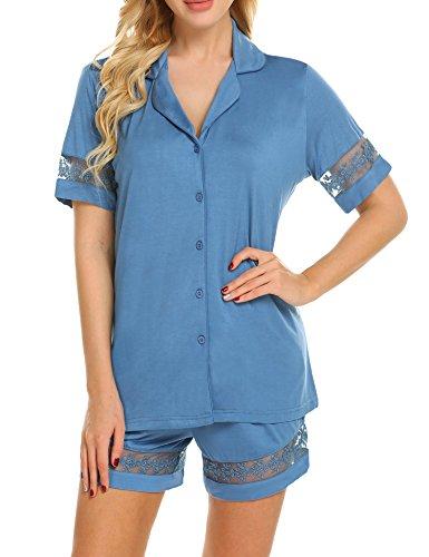 Ekouaer Modal Shorty Pjs Women Short Sleeve Sleepwear(Cobalt Blue XL)