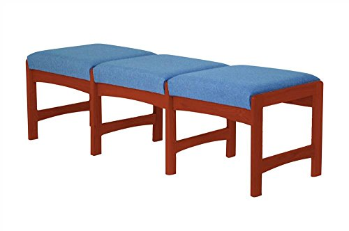 Upholstered Solid Wood Triple Bench w Dark Red Mahogany Finish (Powder Blue)