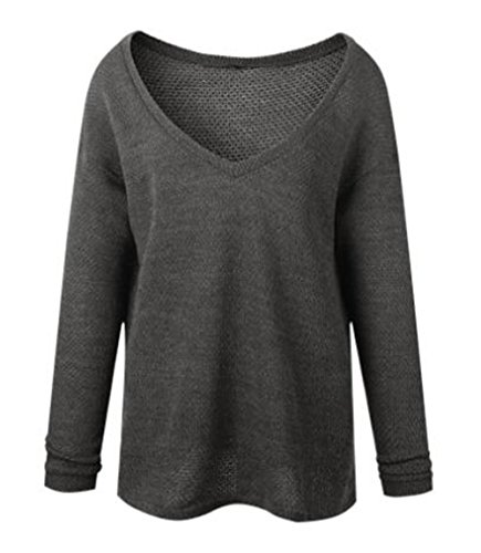 Casual Grande Tunique Sweater ElGant V Gray Femmes Taille Dark Longues Col Manches Gogofuture Sxwq6ZAB5