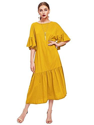 WDIRA Women's Drop Waist Half Sleeve Round Neck Casual Dress Yellow S (Drop Waist Womens Dress)