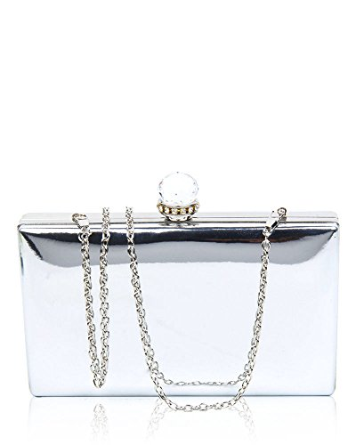 Clasp Leather Clutch Evening Women's Hardcase Bag 20x12x4 5cm Crystal Cover Diamante Silver With Shiny Stone Wedding Dimensions SXRqx7Hqw