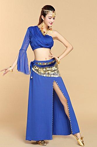 Dunkelblau Shoulder Kleid mit Honeystore Latein Dance Damen Pailletten 2017 One 8PC Dance Belly Neuheiten wwPOvUCAq