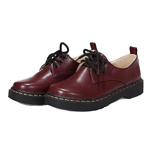 para y PU de punta zapatos cordones Claret Odomolor Zapatillas tacón con con alto redonda mujeres 36 de 7qSWdF