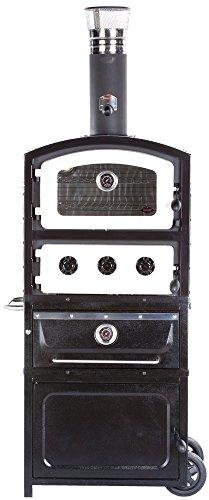 Alfresco Home 82-1001 Fornetto Alto Wood Fired Oven & Smoker with Warming Drawer & Storage Box, Ecru Alfresco Storage Drawers