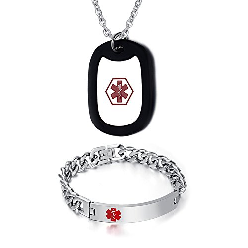 Free Engraving-8.5'' Men's Medical Alert ID Bracelet and Pendant Necklace Set,Free Chain 20'' by VNOX