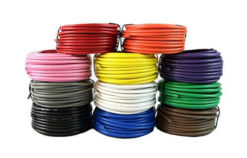 14 Gauge Single Conductor Stranded Remote Primary Wire 11 Rolls 12 Volt 25 Feet Each