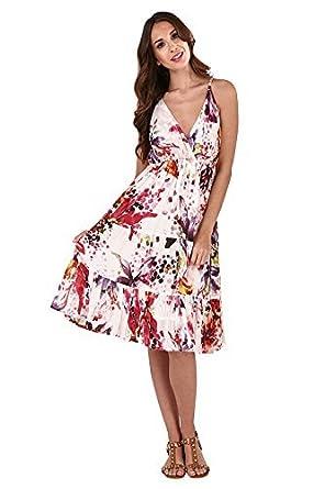 62686e96861 Trueboy Womens Crossover Dress Midi Floral Knee Length Cotton Ladies Summer  Wear  Amazon.co.uk  Clothing