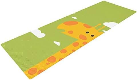 KESS InHouse Strawberringo Baby Giraffe Exercise Yoga Mat, Green Yellow, 72