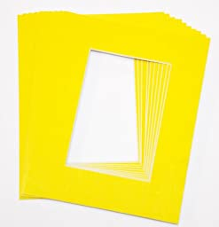 topseller100, Pack of 10 YELLOW 16x20 Picture Mats Matting with White Core Bevel Cut for 11x14 Pictures