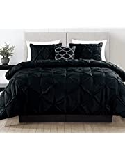 King Size Comforter Set - 4 Piece Bedding Down Alternative Comforter Set - Includes 2 Pillow Shams And 1 Decorative Pillow - Light Weight, Hypoallergenic And Ultra Soft - Luxurious Pinch Pleat Design - By Casa Platino (King, Black)