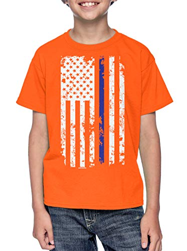 HAASE UNLIMITED Blue Line American Flag - Support Police Youth T-Shirt (Orange, Large)