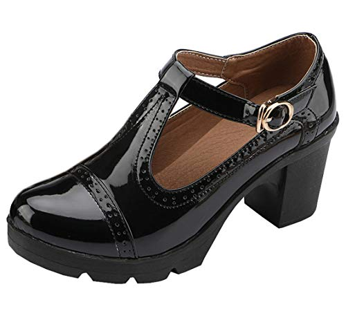 DADAWEN Women's Classic T-Strap Platform Mid-Heel Square Toe Oxfords Dress Shoes Black US Size 9