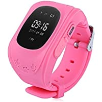 REES52 Q50 LED Display Kid Smart Wrist Security Watch with GPS & GSM System(Pink)