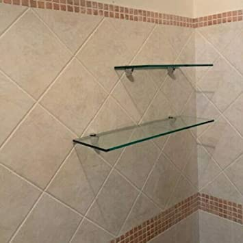 40X18X0,8 Mensola in vetro temperato lucido trasparente da bagno con fissaggi cromo