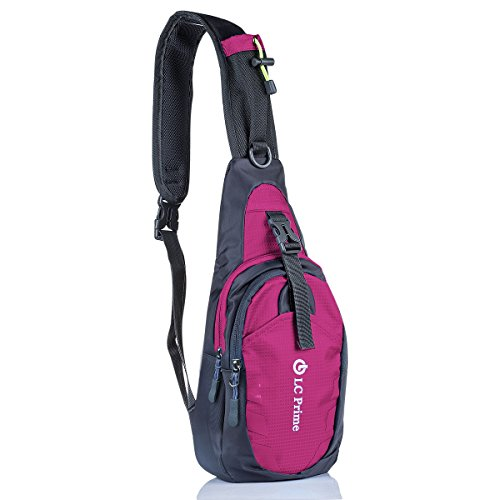 LC Prime Sling Bag Backpack Chest Shoulder Compact Fanny Sack Satchel Outdoor Bike nylon fabric Purplish-Red