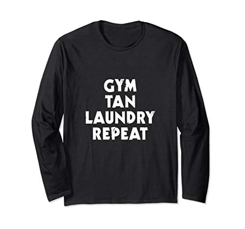 (Gym Tan Laundry Repeat Funny Gift Jersey Beach Long Sleeve T-Shirt)