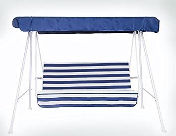 Neffy Shop Set Kissen Plus Dach Ersatz Für Hollywoodschaukel 3 Sitzer, Weiß  / Gestreift