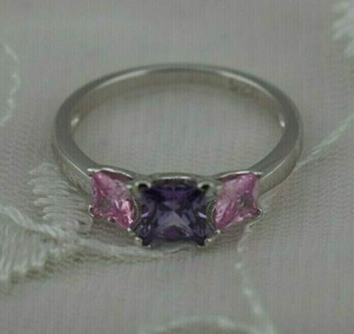 Sterling Silver 3 Square Stone CZ Ring Pink Purple S-7 Jewelry New #ID-340
