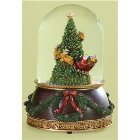 - Santa in Sleigh with Reindeer Flying Around Christmas Tree Musical Snow Globe Glitterdome - 8