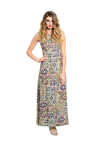 2LUV Women's Sleeveless Geo Print Maxi Dress W/ Caged Neckline Green & Blue M (D1085)