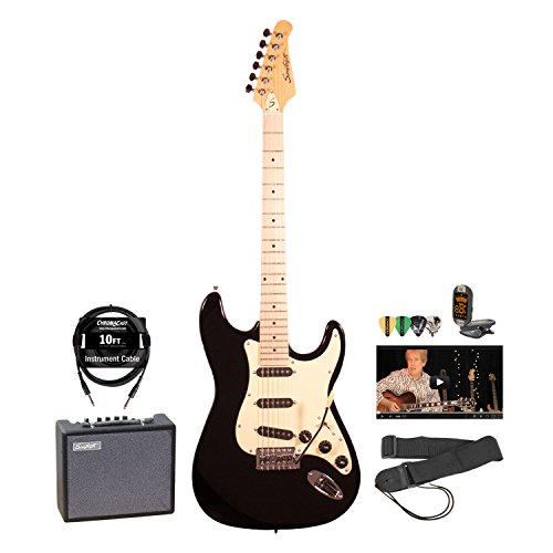 Sawtooth ST-ES-BKVC-KIT-5 ES Series Electric Guitar Pack with Amp and Accessories, Black with Vanilla Cream Pickguard