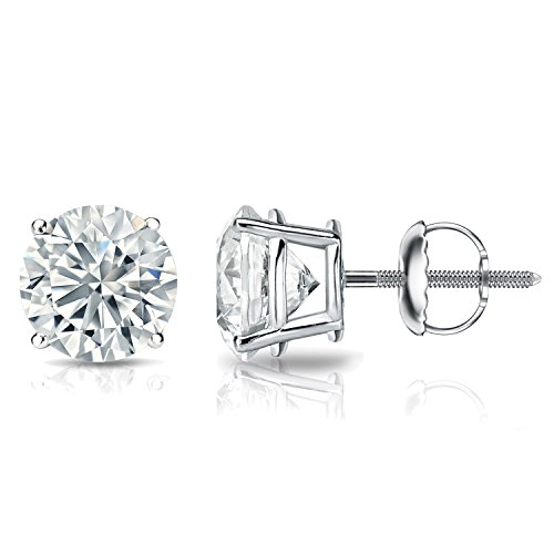 GIA Certified Platinum Round Diamond Stud Earrings 4-Prong (5.00 cttw, J-K, SI2-I1) SB