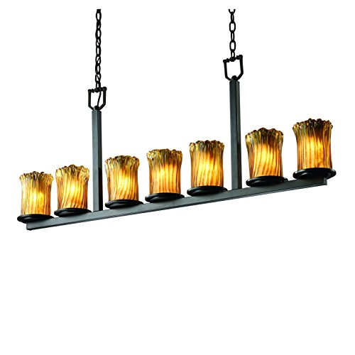 Justice Design Group GLA-8779-16-AMBR-NCKL Veneto Luce Collection Dakota 7-Light Bar chandelier Veneto Luce Multi Light