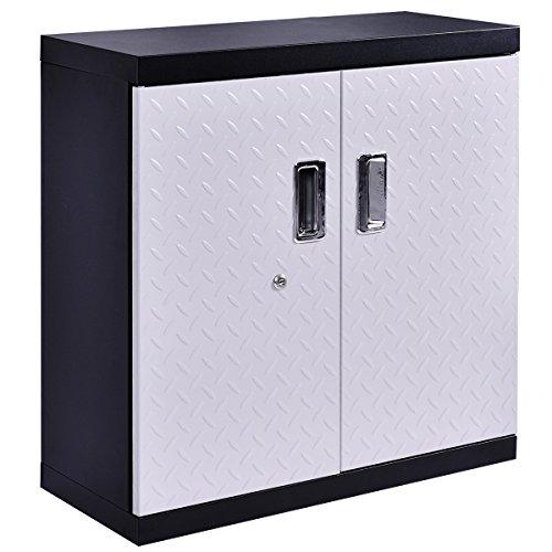 Goplus Garage Steel Wall Mount Cabinet Metal Storage Box Organizer 2  Shelves Tool