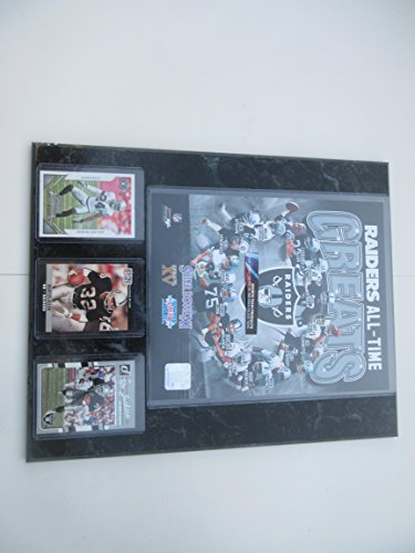 OAKLAND RAIDERS ALL-TIME GREATS PHOTO PLUS 3 PLAYER CARDS MOUNTED ON A 12