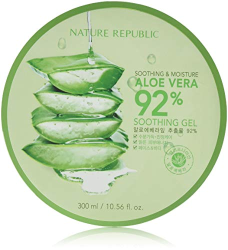 - Nature Republic New Soothing Moisture Aloe Vera Gel 92 Percent Korean Cosmetics, 10.56 Fluid Ounce