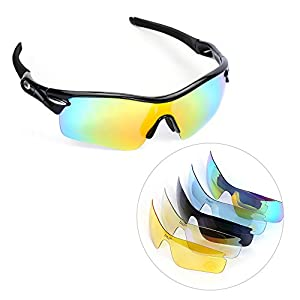 Polarized Cycling Sunglasses, multifun U.V Protection Sports Glasses with 5 Interchangeable Lenses Unbreakable for Riding Driving Fishing Running Golf and All Outdoor Activities