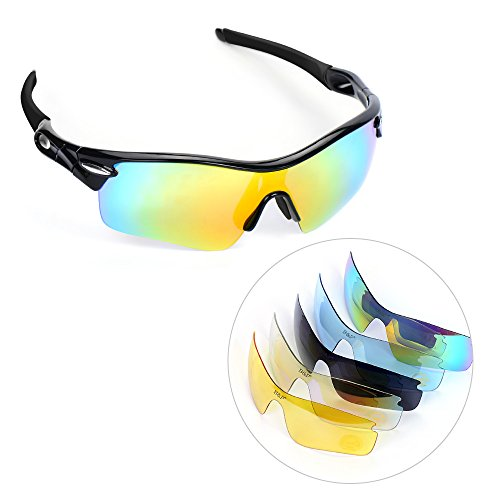 multifun Polarized U.V Protection Sports Glasses, Cycling Wrap Sunglasses with 5 Interchangeable Lenses Unbreakable for Riding, Driving, Fishing, Running, Golf and All Outdoor - Sunglasses Lenses Prescription With Interchangeable