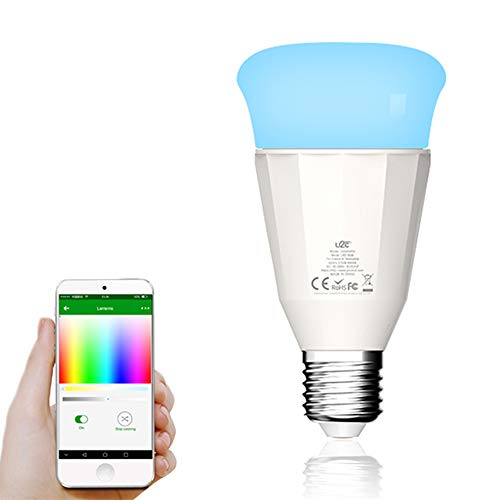 Lixada1 Intelligent LED Light Bulb E26/E27 Base Socket Holder,Supported Cellphone App Control Compatible for Android/iOS System Portable for Living Room Bedroom Cafe Shop Restaurant (Best Restaurant App Android)