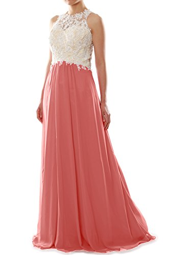 MACloth Women High Neck Lace Chiffon Long Prom Dress Formal Party ...