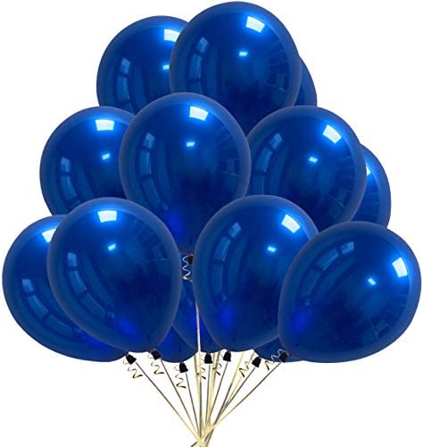 50 PCS Chrome Metallic Latex Balloons 10 Inch – 4g/pc 2-Layered Premium Helium Metal Balloon for Theme Birthday Parties Wedding Supplies Graduation Decor Baby Shower Decorations (Chrome Royal Blue)