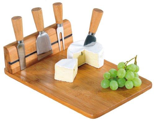 Kesper 50641 Käseschneidbrett mit 4tlg. Besteck, Bambus, Maße: 30 x 20 x 8 cm