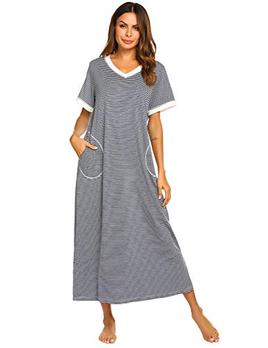 Ekouaer Womens Caftans Nightgown with Pockets (Blue Striped,X-Large) (72 Inch Lounger)
