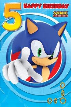 Sonic The Erizo edad 5 Cumpleaños Tarjetas: Amazon.es ...