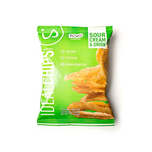 IdealShape Chips, IdealChips, Sour Cream and Onion, 10g Protein, 120 Cals, Low Carb, Weight Loss, Baked, 1.06oz Bag, 7 Count, Packaging May Vary
