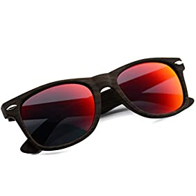 Faux Wood Reflective Revo Color Lens Horn Rimmed Sunglasses