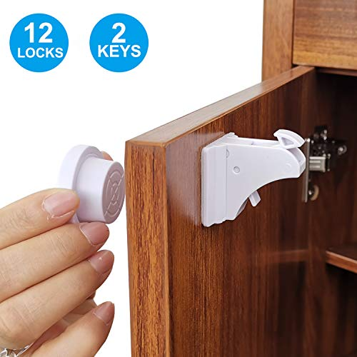 Child Safety Magnetic Cabinet Locks,TUSUNNY Baby Proofing Lock Kits Baby Latches for Kitchen Cabinet Drawer Cupboard,Adhesive Magnet Drawers Locks No Tool or Drill Needed(12 Locks + 2 Keys) (12Pack)