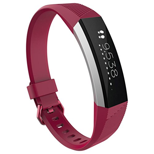 Rambly Large Replacement Wrist Band Silicon Strap Clasp For Fitbit Alta Hr Watch  Hot Pink