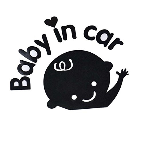 HeFeiuo Car Stickers Baby In Car Beckon Doll Fashion Cute Decoration Waterproof Self-Adhesive And Removable - Black (Snowboard Packages For Women 143)