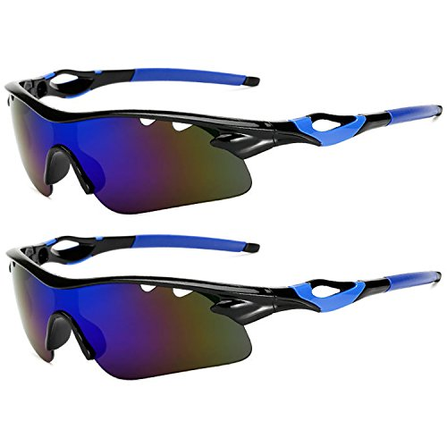8429b23719 Polarized Sports Sunglasses Glare UV400 Protection HD Night Vision for  Motorcycle Riding Glasses (2 PACK) (Blue lens)