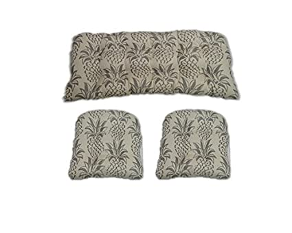 3 Piece Wicker Cushion Set Indoor Outdoor Wicker Loveseat Settee 2 Matching Chair Cushions Grey Pineapple