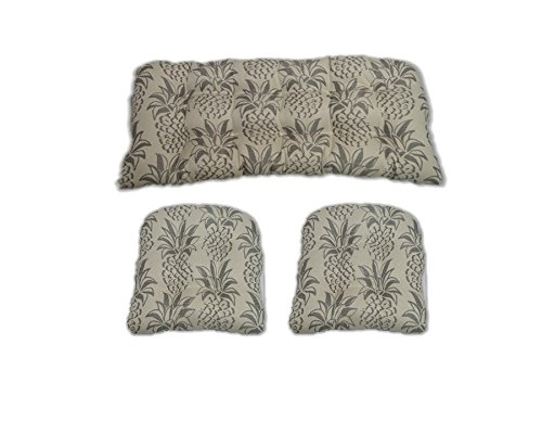 3 Piece Wicker Cushion Set - Indoor / Outdoor Wicker Loveseat Settee & 2 Matching Chair Cushions - Grey Pineapple (Set Wicker Loveseat)