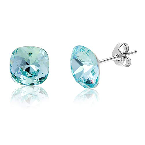 Devin Rose Cushion Solitaire Stud Earrings for Women in Stainless Steel made with Swarovski Crystal (Light Azore Blue) ()