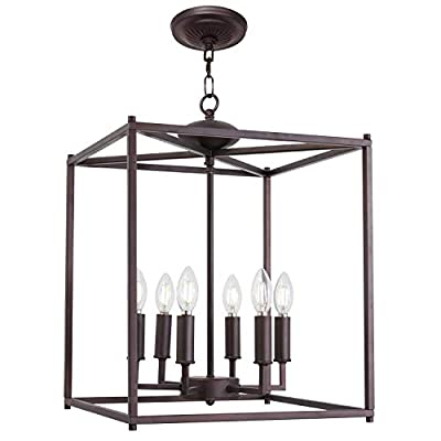 Island Pendant Lighting Linear Kitchen Light fixtures Black Rustic Semi Flush Mount Ceiling Lights Contemporary Chandeliers with Metal Cage Shades by Lucidce