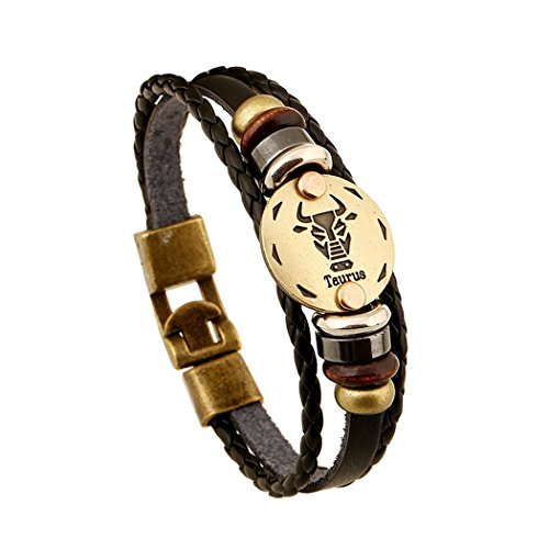 Vintage Leather Bracelet,12 Constellation Charms Braided Rope Bangle Bracelet for Women and Men (Taurus) - Hawaiian Rope